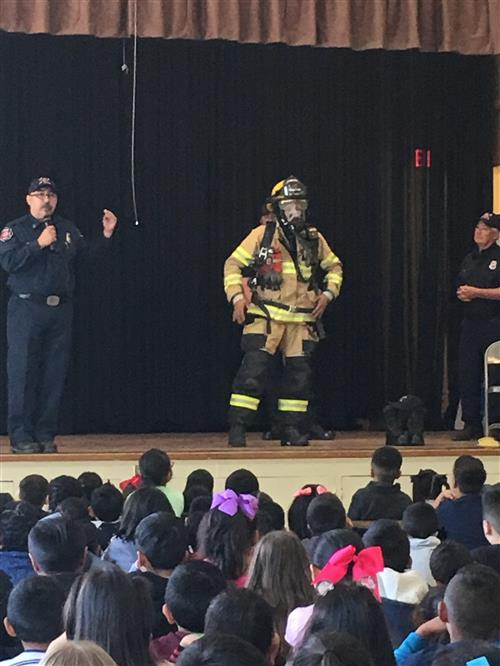fire fighter giving a presentation
