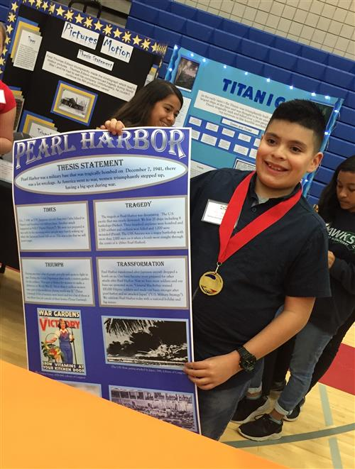 Albert with his winning poster