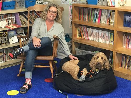 Mrs Ransom with Grace the Reading Dog